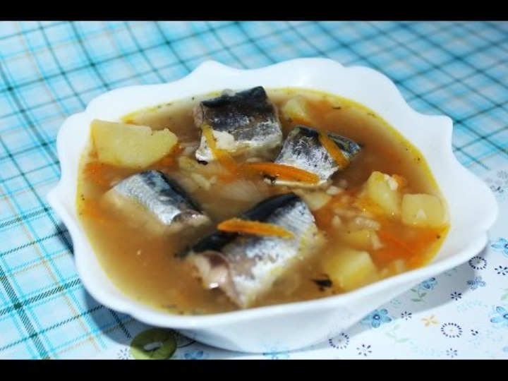 Saury soup in Multi Cooker